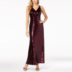Nightway Womens Sequined V-Neck Evening Dress